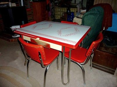 Vintage Metal Kitchen Tables And Chairs Retro 1950 S Chrome Table Set 4 Red Vinyl