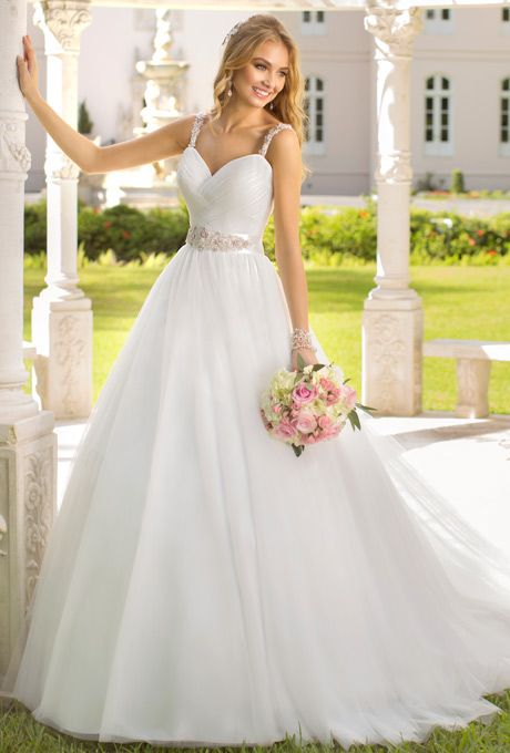 Stella York - Tulle ball gown with pleated, beaded waistband and ...