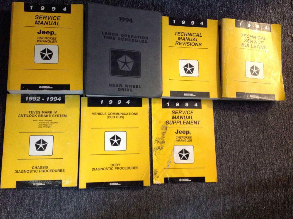 1994 Jeep Cherokee Wrangler Service Shop Repair Manual Set W Supplement More Mopar Jeep Jeep Cherokee Jeep