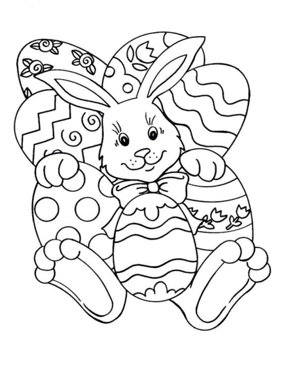 Easy Easter Coloring Pages Bunny And Eggs A Craft Easter Coloring
