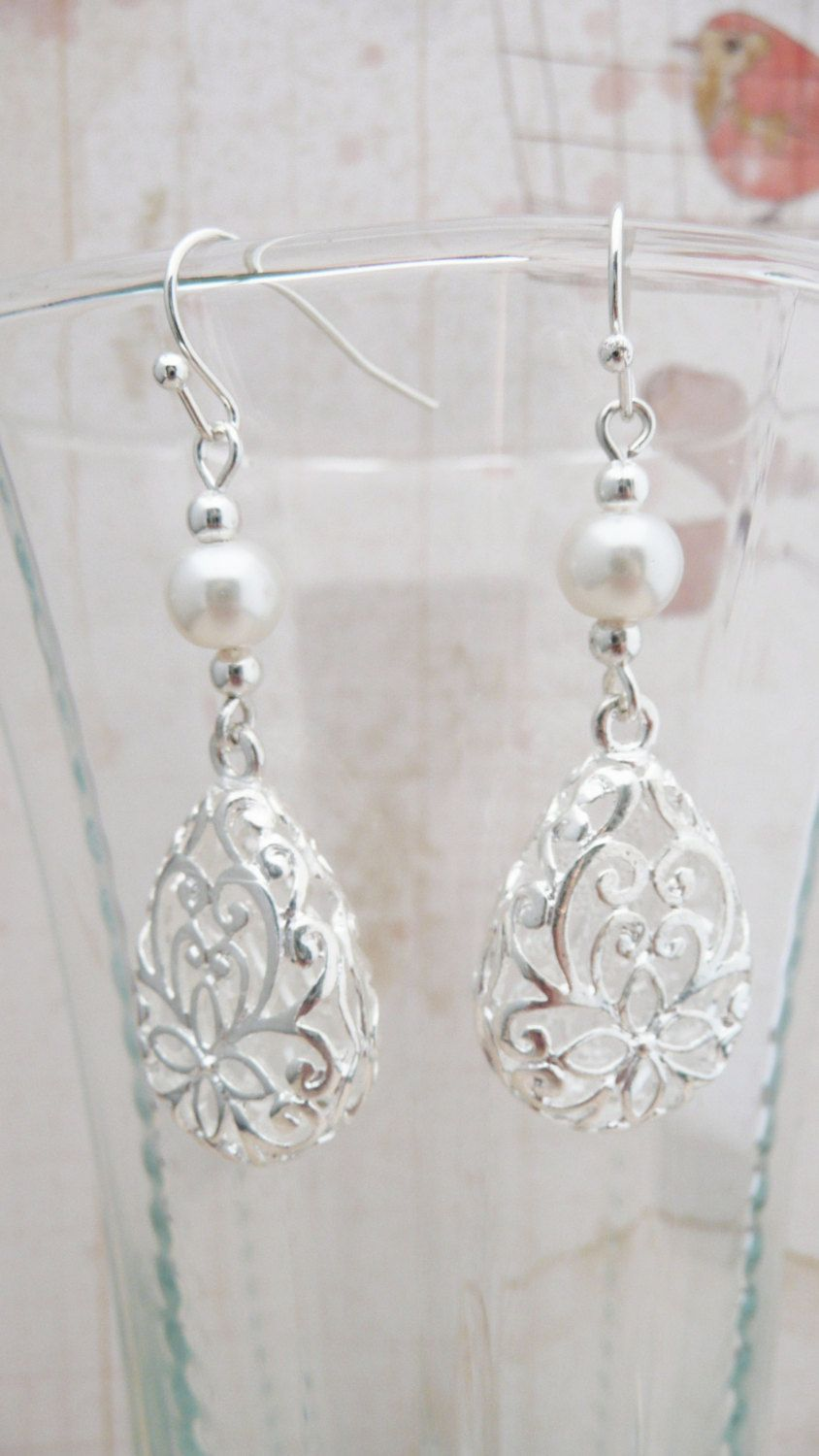 Earrings Silver filigree and pearl dangle by VerdigrisGifts, $20.00