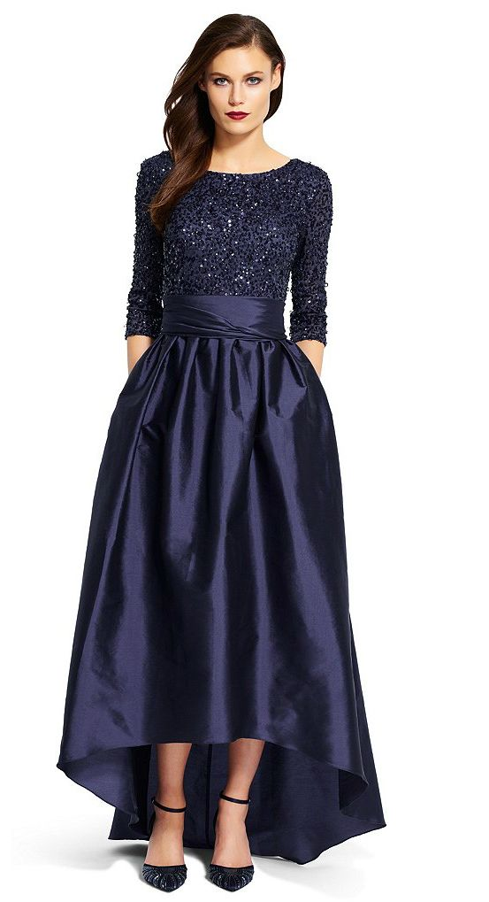 Midnight blue sequin top high low taffeta gown holiday for Dresses for mother of the bride winter wedding