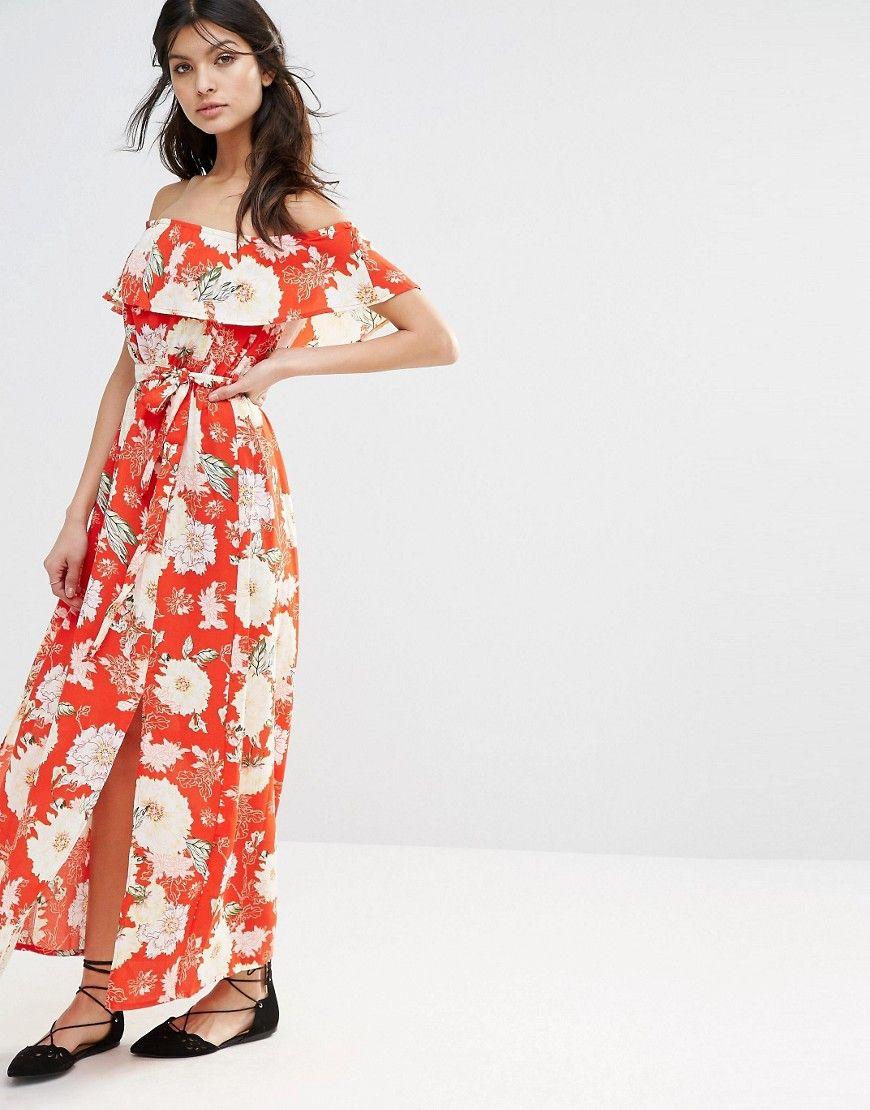 Image 4 ofRiver Island Bardot Floral Maxi Dress