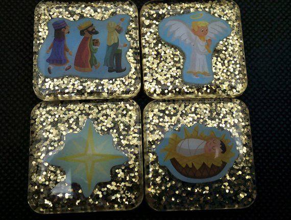 Glitter nativity fridge magnets set, manger wise men star angel gold refrigerator magnet set, Easter magnets set gift, Easter religious gift #goldglitterbackground
