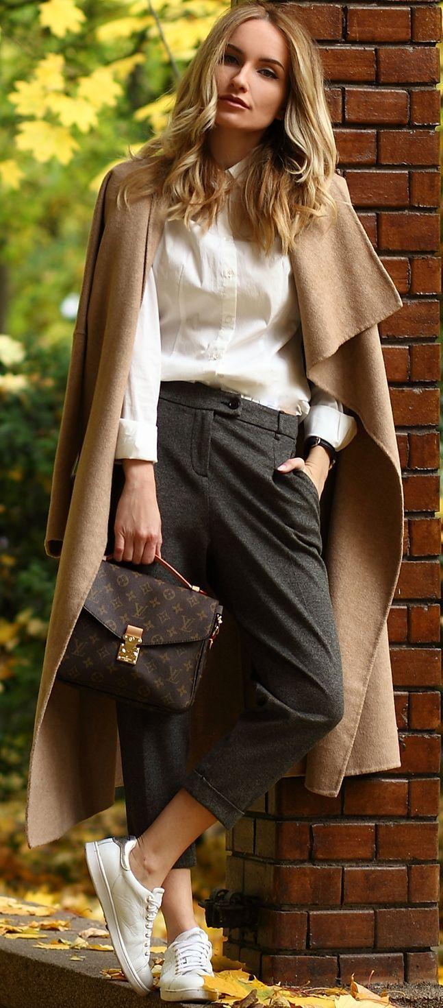 b29fbc499e3 Postolatieva Camel On Black And White Cool Fall Street Style Inspo   Fashionistas