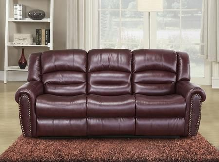 Chelesa 686 S 85 Rocker Reclining Sofa With Top Quality Bonded Leather Upholstery Nail Head Design And Removable Backs In Burgundy