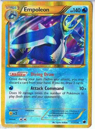 Pokemon Card Plasma Freeze Secret Rare Holo Empoleon 117/116 FREE combined ship