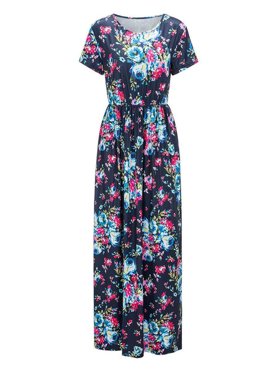 Fashionmia fashionmia round neck floral printed short sleeve maxi