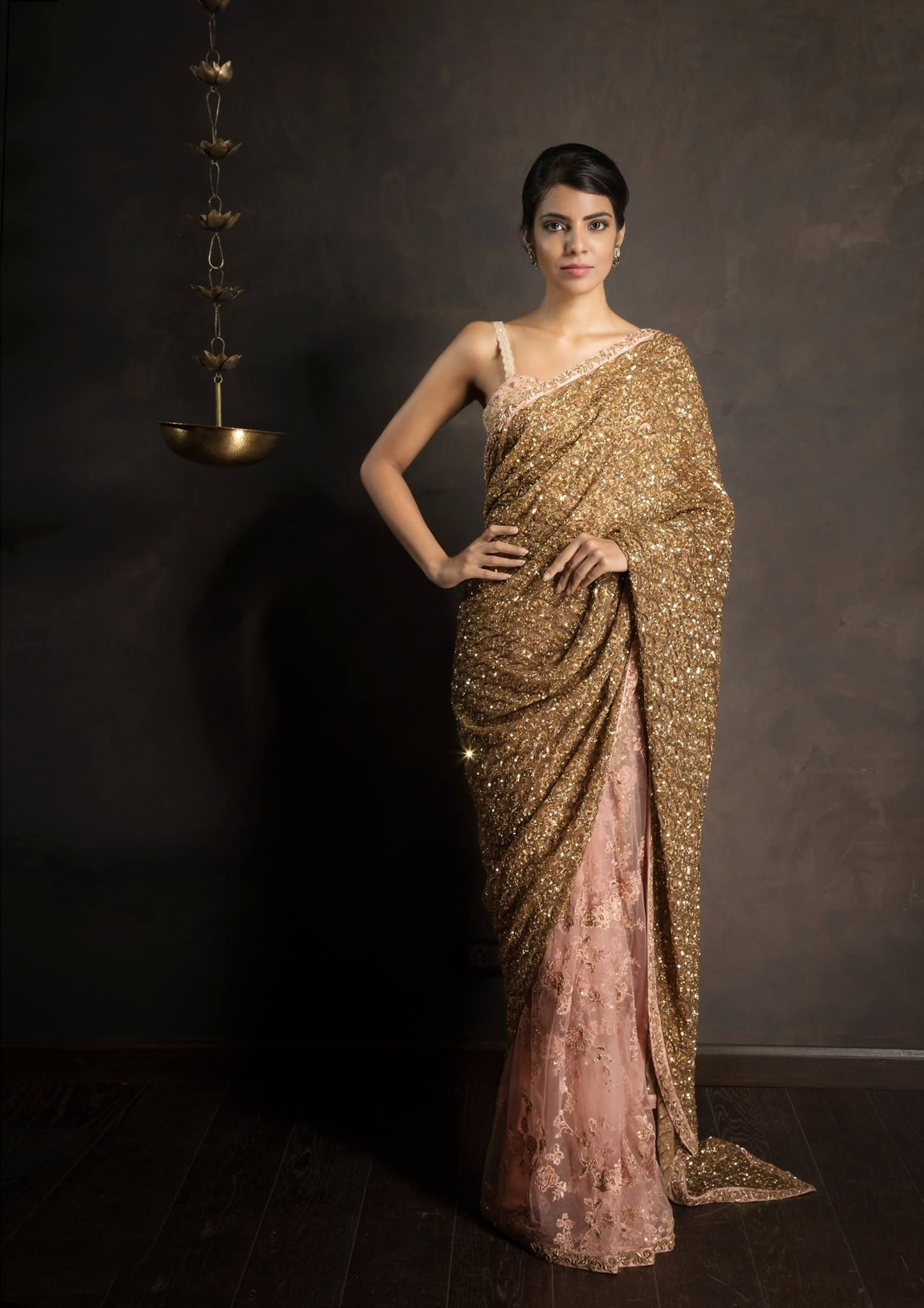 01ba59f707264 An exquisite tulle crystal rose saree hand embroidered with floral patterns  in resham and gold zardosi scallops. 11 December 2017