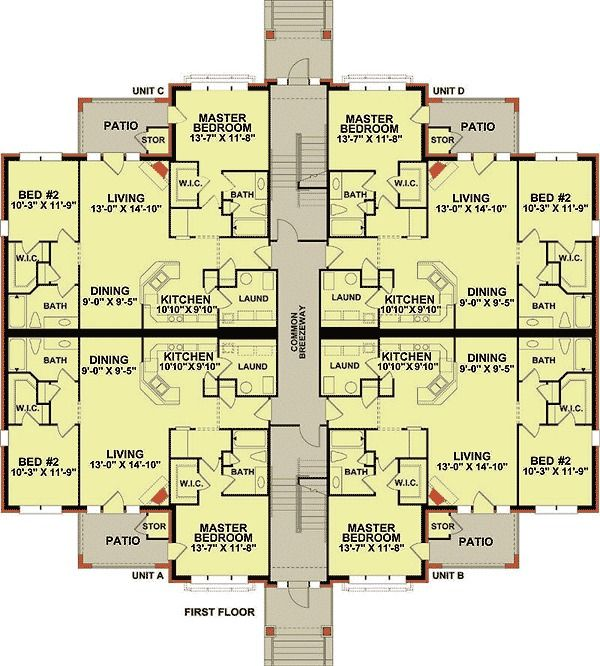 Plan 83117dc 3 Story 12 Unit Apartment Building Condo Floor Plans Duplex Floor Plans Building Layout