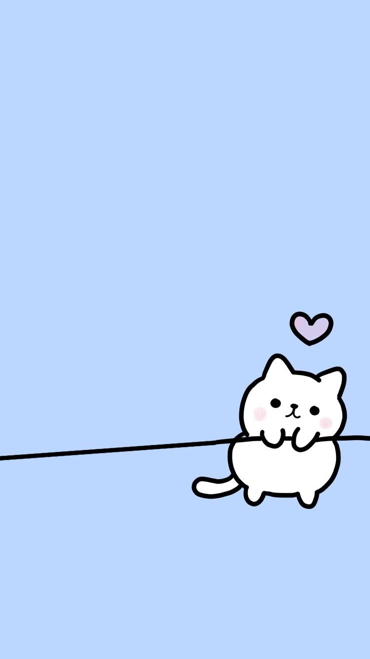 Cute Chibi White Cat Blue Free Iphone Wallpaper Background Samsung Wallpaper Locked Wallpaper Ipad Pro Wallpaper