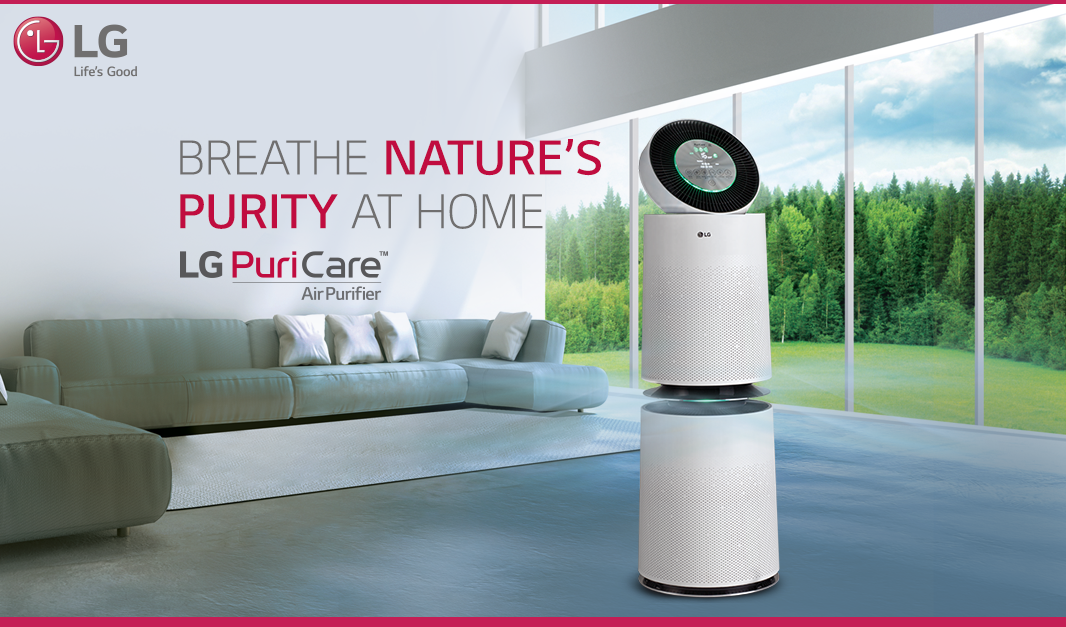 Surround Yourself With Purity Of Lgpuricare Airpurifier The 360 Degree Purification Absorbs Pollutants And D In 2020 Air Purifier Air Purification Systems Purifier