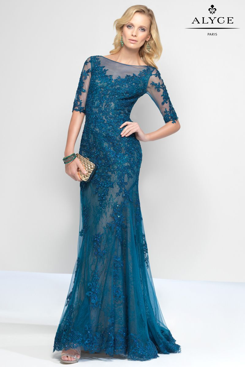 Beaded Lace Formal Evening Gown with Open Back | Prom Dresses - dark ...