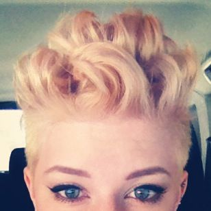 Short curly pink and blonde Mohawk so happy with my own hair I think I'll Pinterest it.
