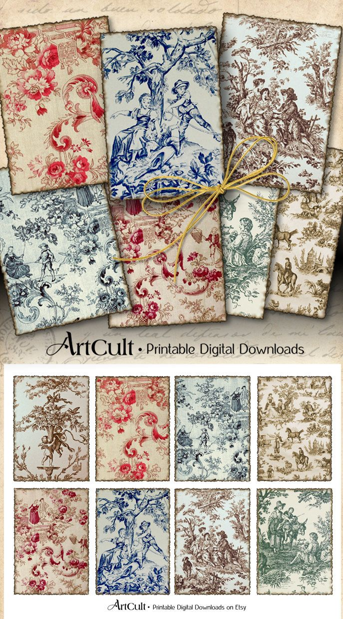 Printable Download OLD FRENCH TAPESTRY 2.5x3.5 inch gift tags Toile Backgrounds Jewelry Holders Digital Collage Sheet Scrapbooking paper