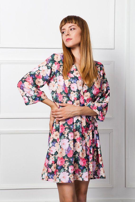 Black Floral Ladies Dressing Gown/ Peachskin Womens Kimono Gown ...