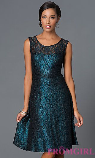 aa31d120b2e0b Shimmering Lace Knee Length Holiday Party Dress at PromGirl.com ...