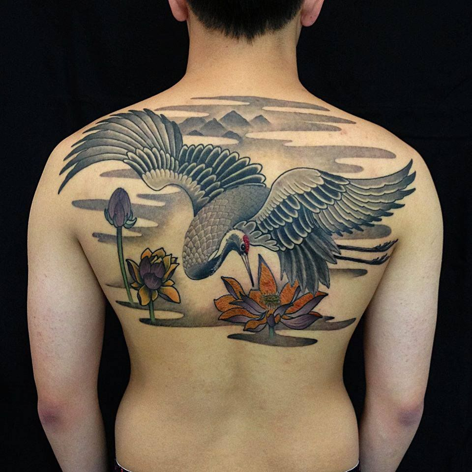 Soaring Crane Tattoo Crane Tattoo Japanese Tattoo Tattoos
