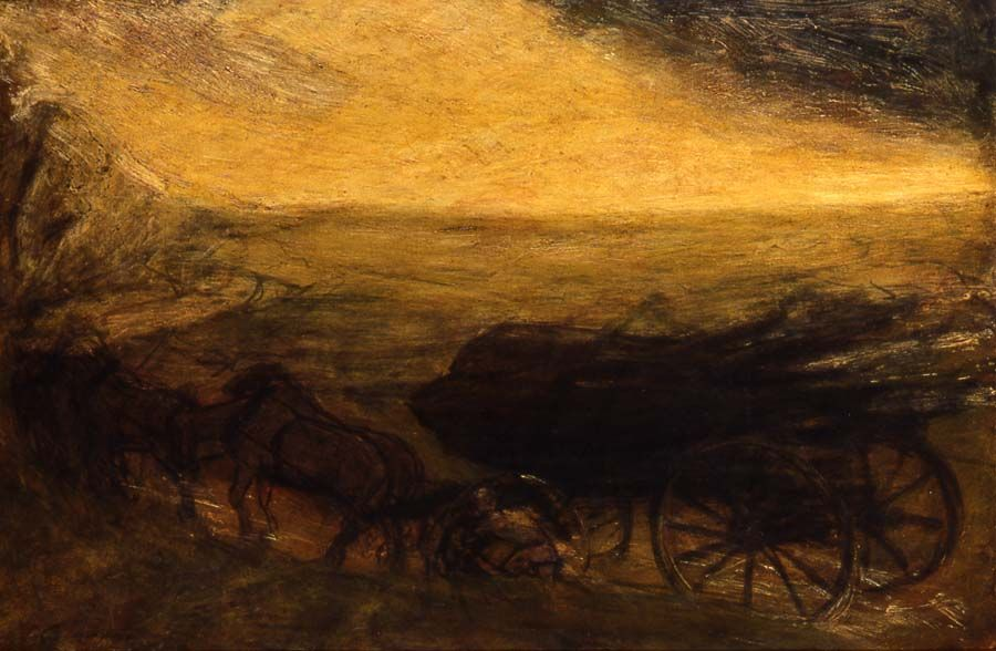 """Elemental Forces,"" Albert Pinkham Ryder, oil on canvas, 21 3/8 in. x 32 1/2"", Addison Gallery of American Art."