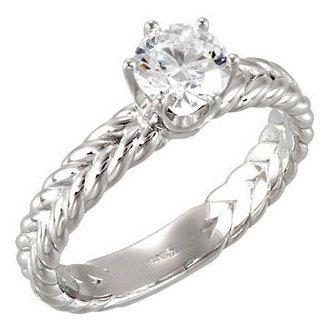 Braided Woven Rope Solitaire Diamond Engagement di LyonsJewelry, $399.00