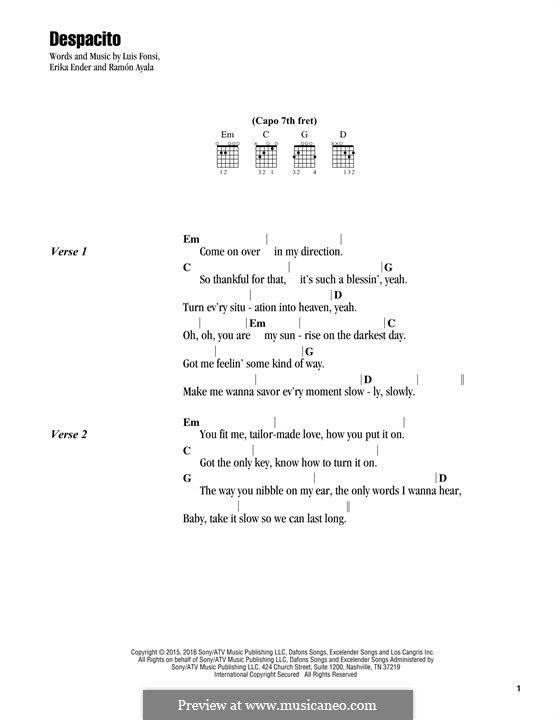 Despacito Lyrics And Chords By Luis Fonsi Erika Ender Ramon Ayala