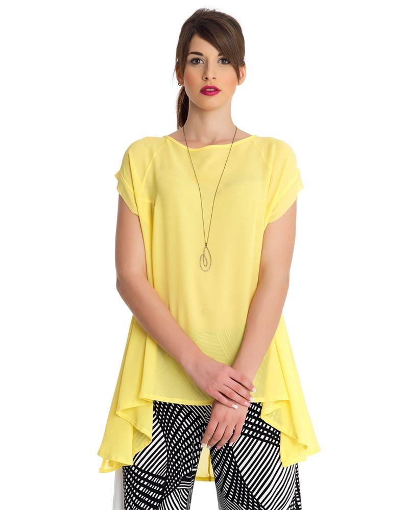 27ec3d252809 Μονόχρωμη ασύμμετρη μπλούζα — mat. XXL sizes