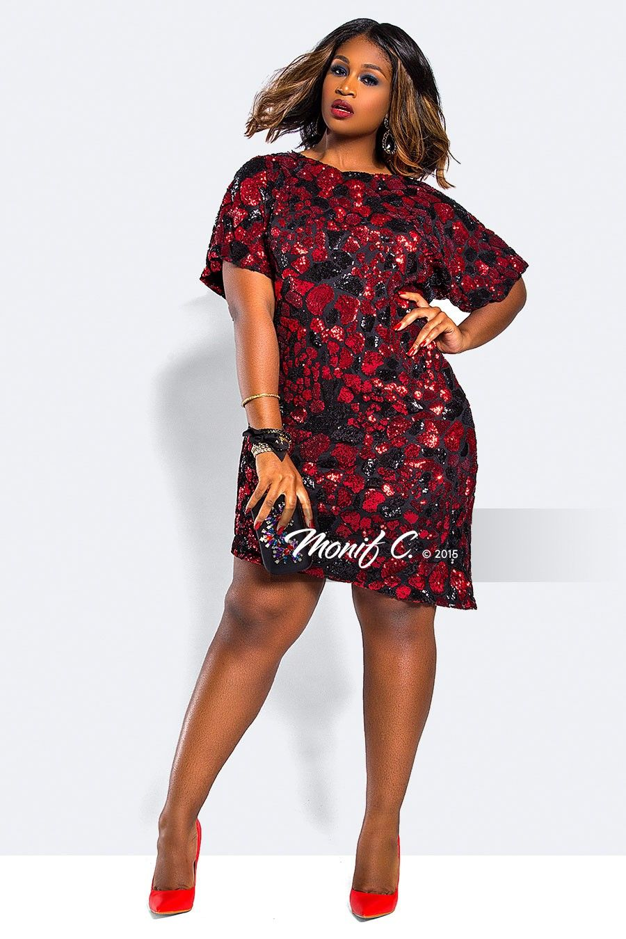 sequins red and black | Curvy Girl Fashion | Plus size sequin ...