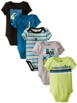 8032045a5 Quiksilver Baby-Boys Newborn 5 Pack Bodysuits Black Lime Gray Group ...