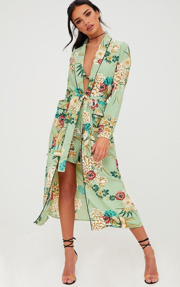 9e341f3896e68 Sage Green Floral Maxi Kimono in 2019 | prettyliitlething | Floral ...