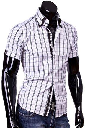 a30cf62ba3ab8f1 Купить Мужская рубашка с коротким рукавом и высоким воротником фото  недорого в…
