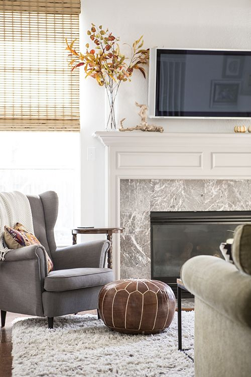 I Love The High Wingbacked Grey Chair Combined With The Leather Inspiration Living Room Candidate Decorating Design