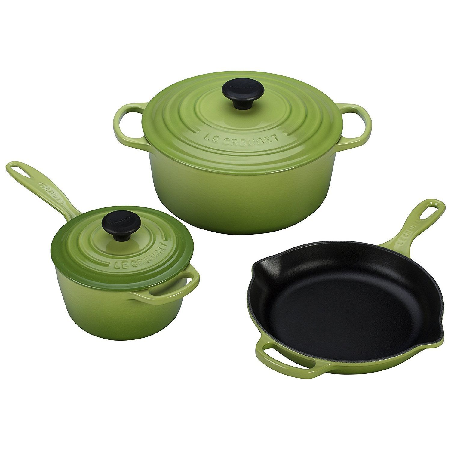 Le Creuset 5 Piece Signature Enameled Cast Iron Cookware Set, Palm ...