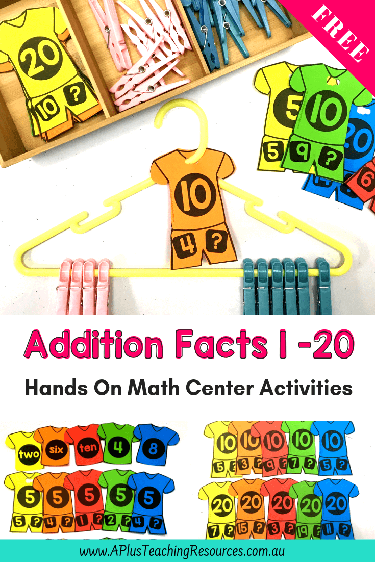 Free Addition Game Printable Clothes Hangers Pegs Kindergarten Math Games Fun Math Activities Math Center Activities [ 1102 x 735 Pixel ]