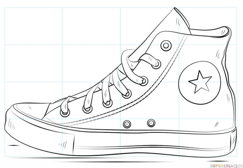 How To Draw A Converse Shoe Step By Step Drawing Tutorials For Kids