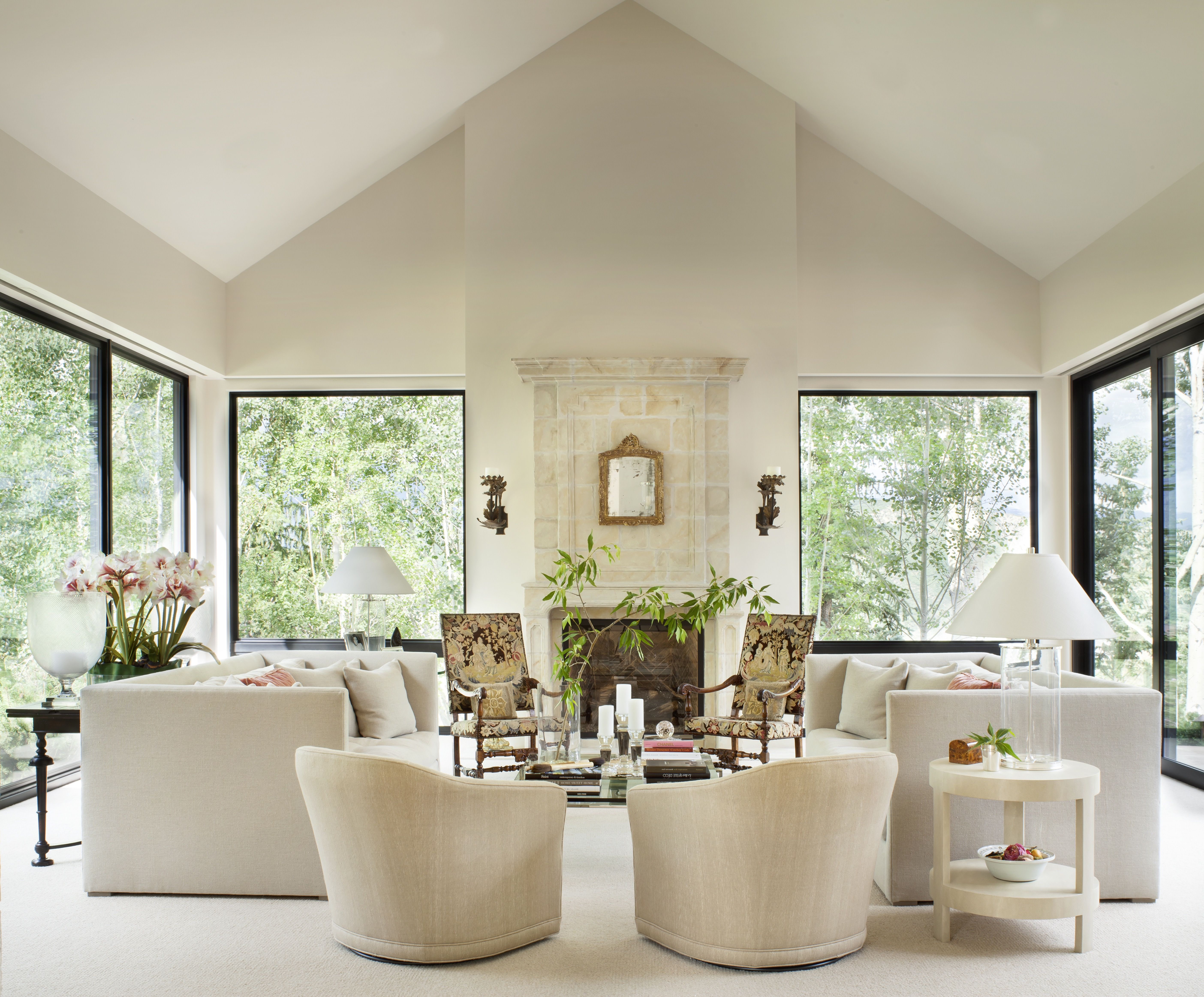 All White Living Room With Elegant Flair