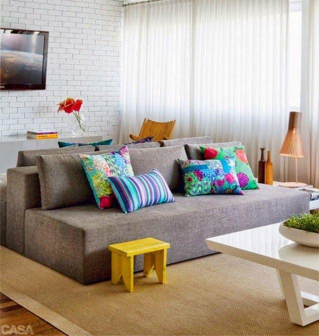 Sofa Cinza Almofadas Coloridas A Dupla Perfeita Salas