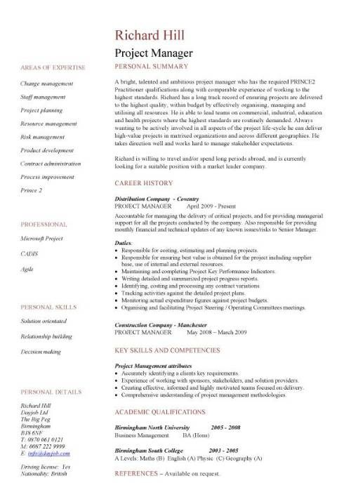 Single page resume template project manager cv example cv examples of skill sets for resume project manager cv template construction project management jobs yelopaper