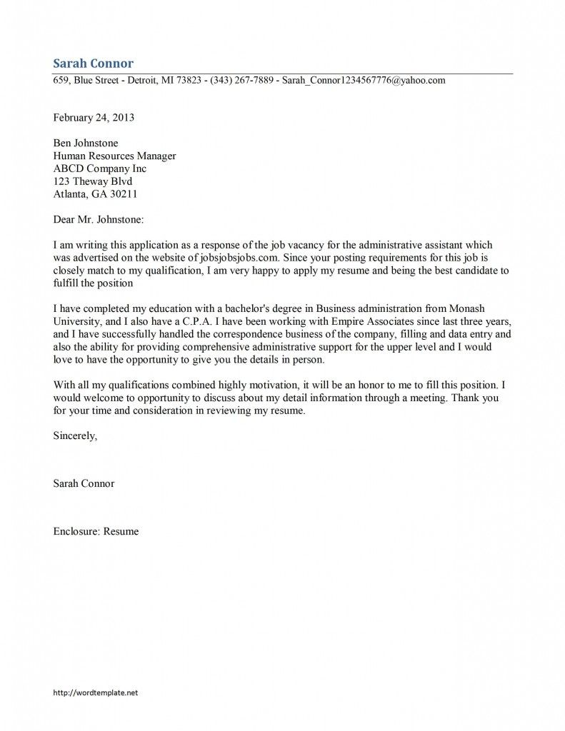 administrative assistant cover letter template - Administrative Position Cover Letter