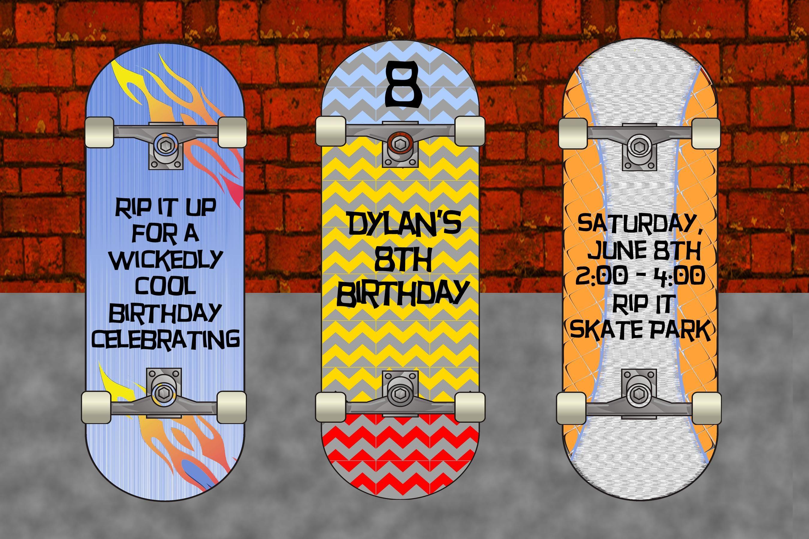 PB Skateboardskateboard party skateboard party invitation – Party Invitation Paper