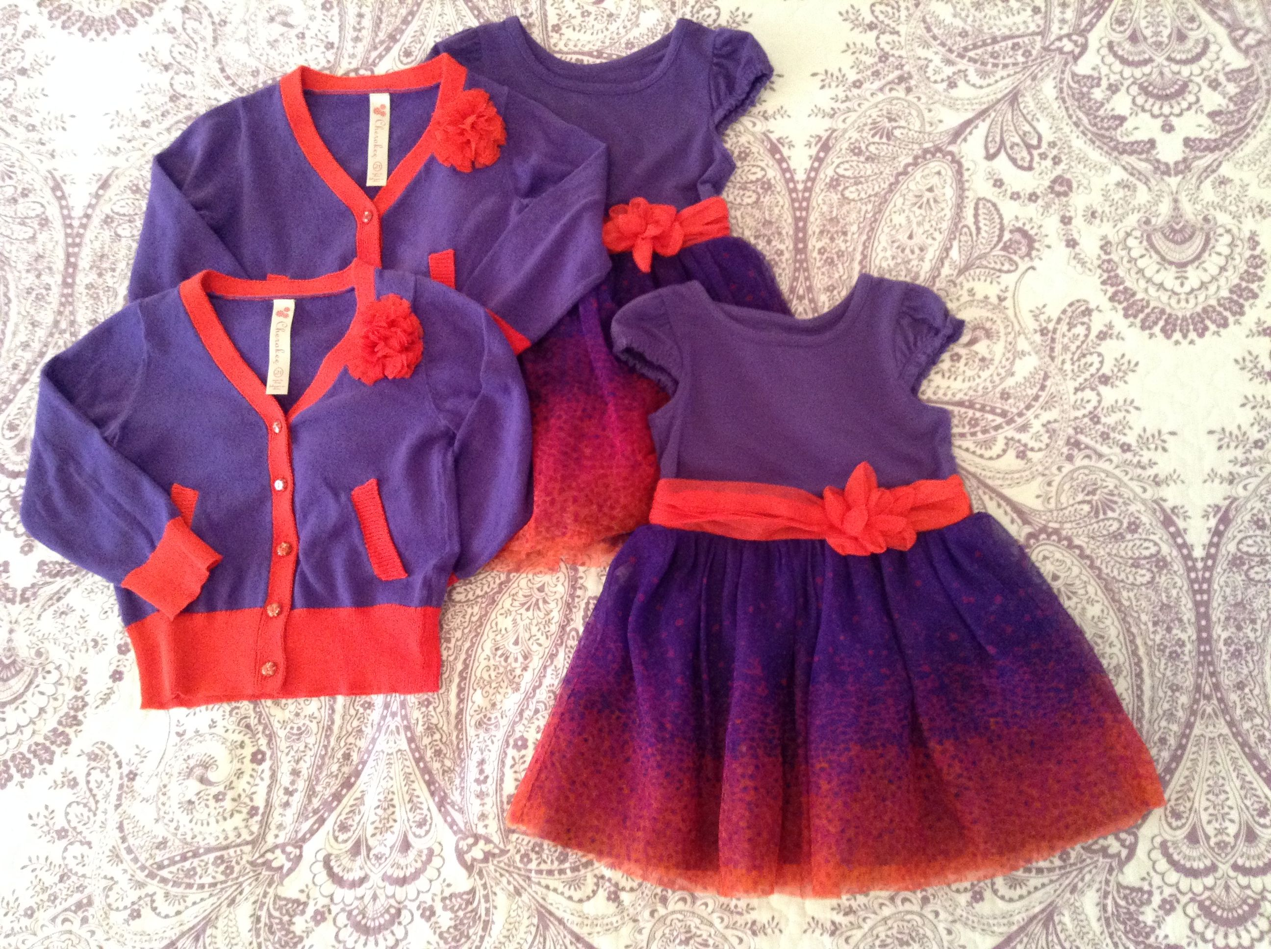 Cherokee 2t Dress with matching sweater Purple and Red Dress has a nice tulle skirt and this combo definitely brought the compliments especially when paired with the red glitter shoes.  $10 each set