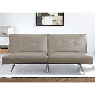 Abbyson Aspen Taupe Bonded Leather Foldable Futon Sleeper Sofa Com Ping The Best Deals On Futons