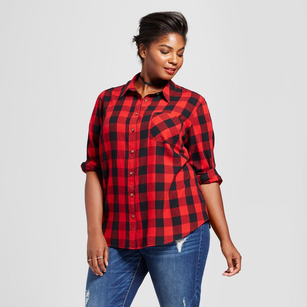 f2ce7dc0407e2 Women s Plus Size Button Down Shirt - Ava   Viv Red Plaid 2X