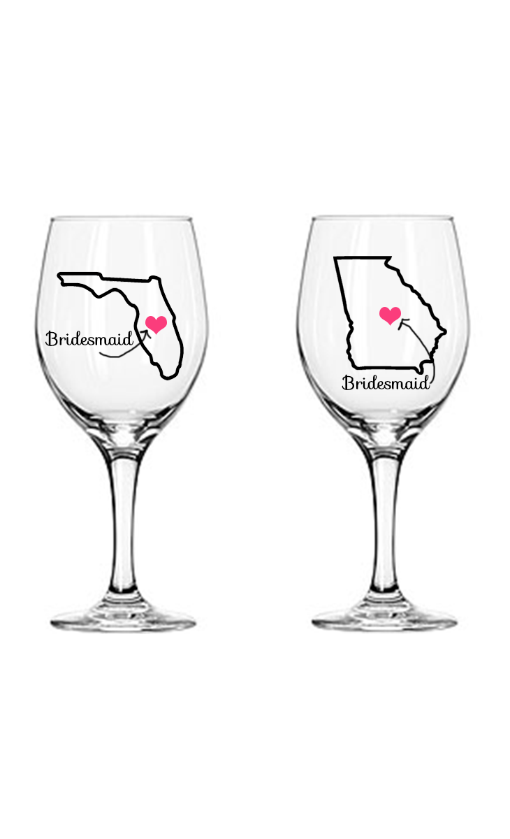How to decorate wine glasses for bridesmaids - Best Friend Bridesmaid Wine Glass State Love