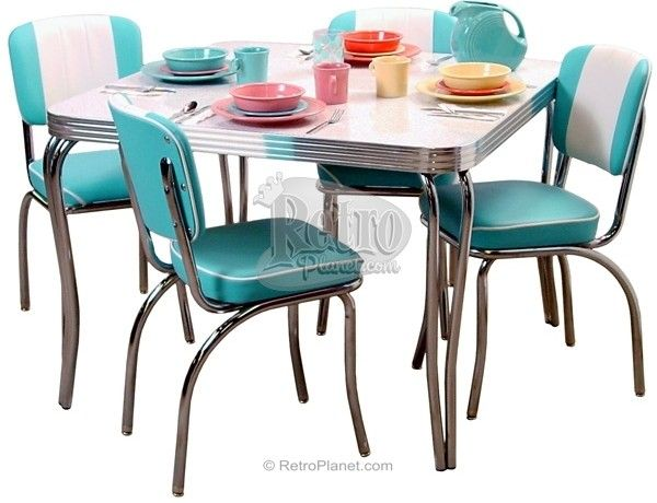 Retro Dinette Set Popular In 1950s Homes Chrome And Vinyl Chairs