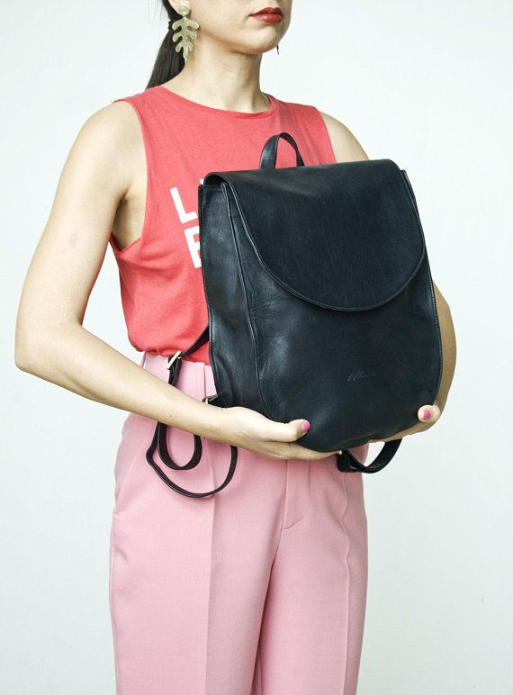 d5ad515deb5 Black half moon leather backpack, Women's leather bag, Large black ...