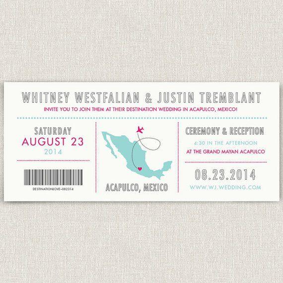 Pink and aqua destination wedding invitation - http://themerrybride.org/2015/08/13/pink-and-aqua-wedding/
