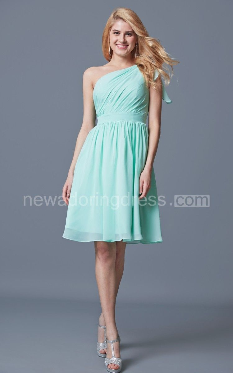One shoulder knee length chiffon bridesmaid dress chiffon