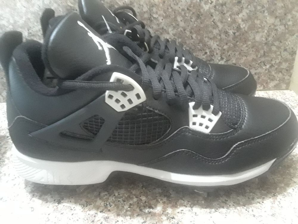 b198cd77e78 Nike air Jordan Retro 4 Cleats jumpman Oreo Black brand new without box  #fashion #clothing #shoes #accessories #mensshoes #athleticshoes #ad (ebay  link)