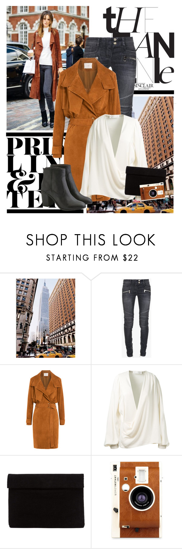 """""""Warm Winter Street Style"""" by jennaaflorence ❤ liked on Polyvore featuring Balmain, IRO, Victoria Beckham, LØMO and American Eagle Outfitters"""