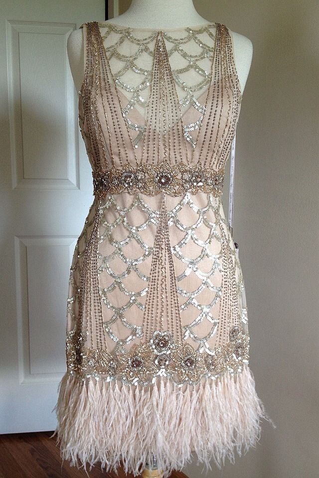 sue wong gatsby 1920 s chagne beaded sequin feather